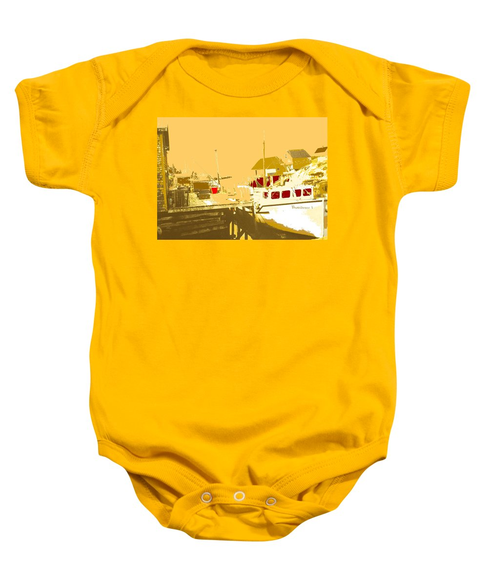 Red Baby Onesie featuring the photograph Fishing Boat At The Dock by Ian MacDonald