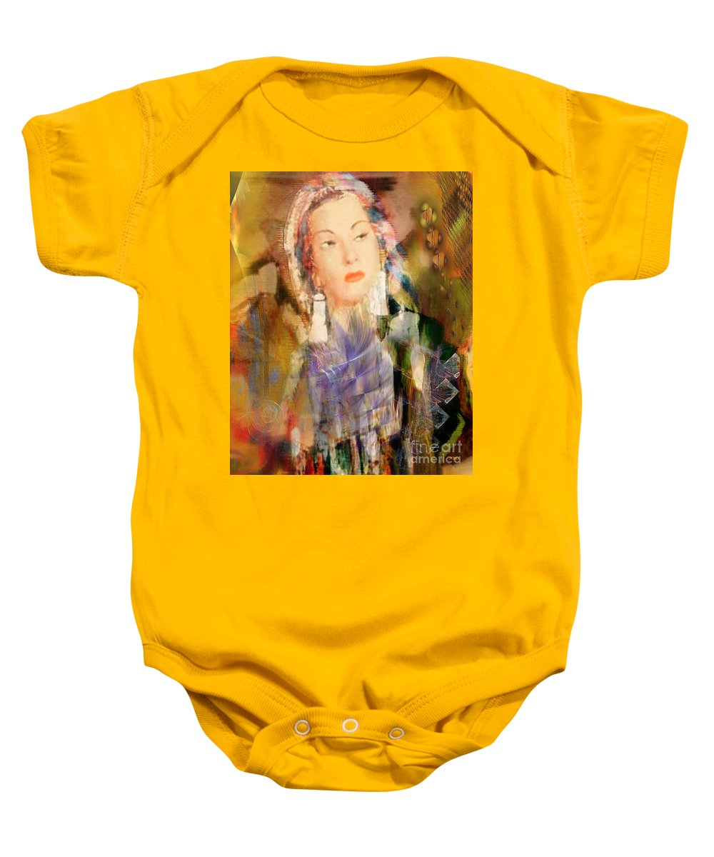 Baby Onesie featuring the digital art Five Octaves - Tribute To Yma Sumac by John Beck