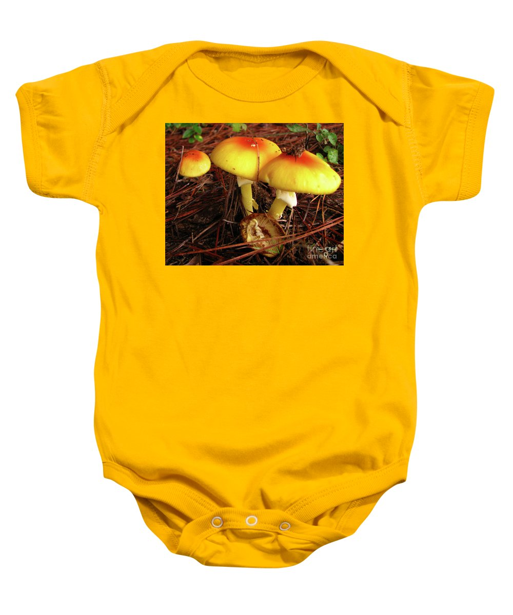 Mushroom Baby Onesie featuring the photograph Flame Pluteus Mushroom by Donna Brown