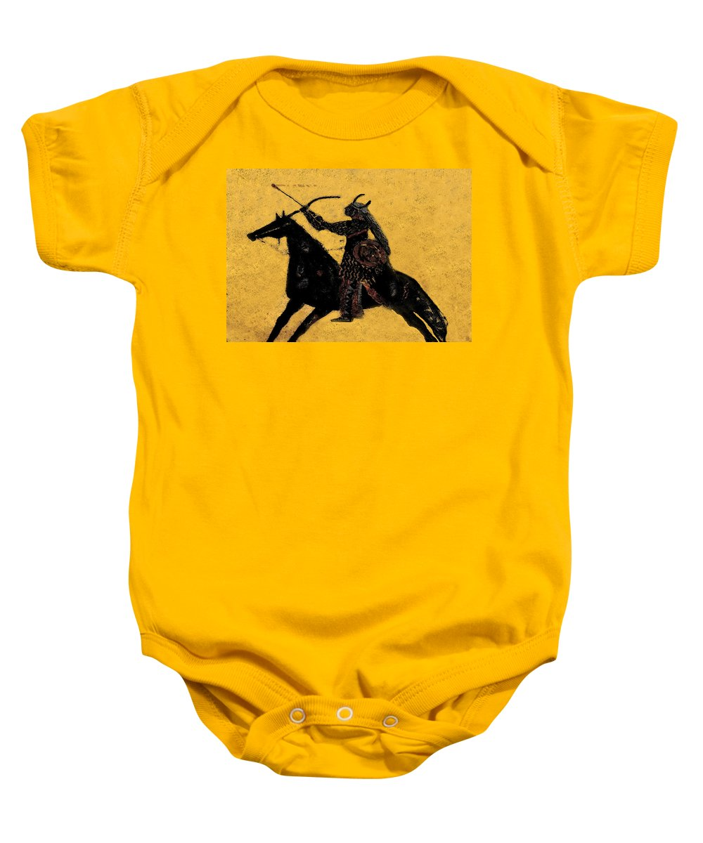 Flaming Arrow Baby Onesie featuring the painting Flaming Arrow by David Lee Thompson