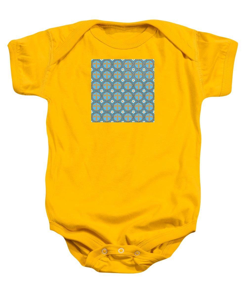 Joymckenzie Baby Onesie featuring the digital art Fleur De Lis Pattern No. 2 by Joy McKenzie