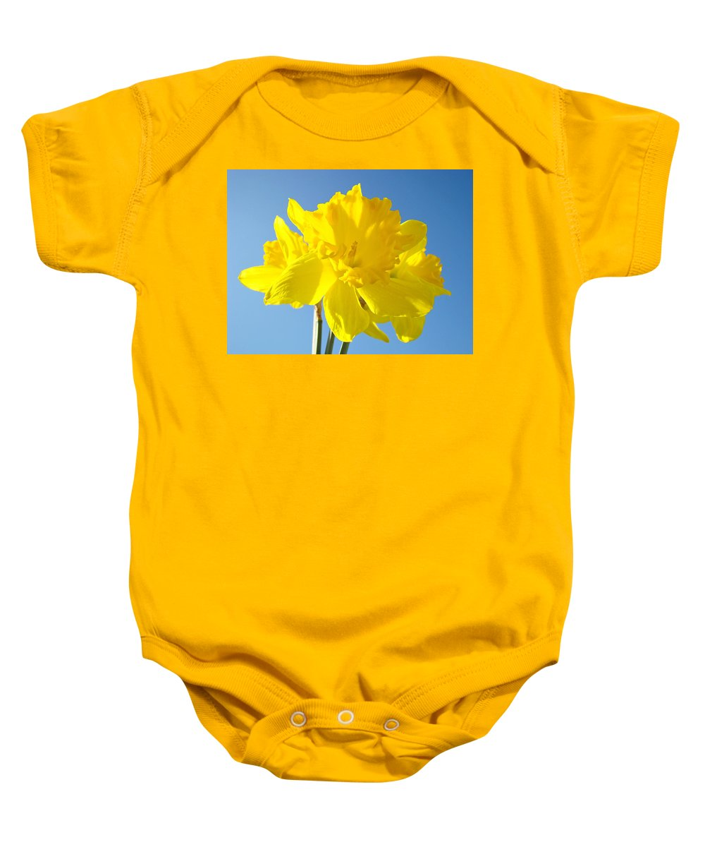 Spring Baby Onesie featuring the photograph Floral Art Bright Yellow Daffodil Flowers Baslee Troutman by Baslee Troutman