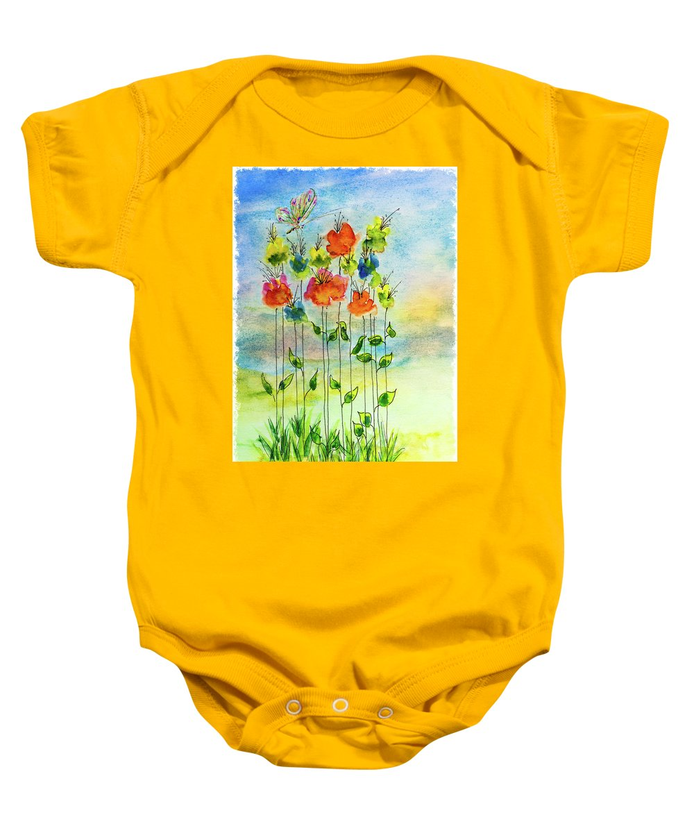 Art Baby Onesie featuring the mixed media Flower Patch With Butterfly by Peter V Quenter
