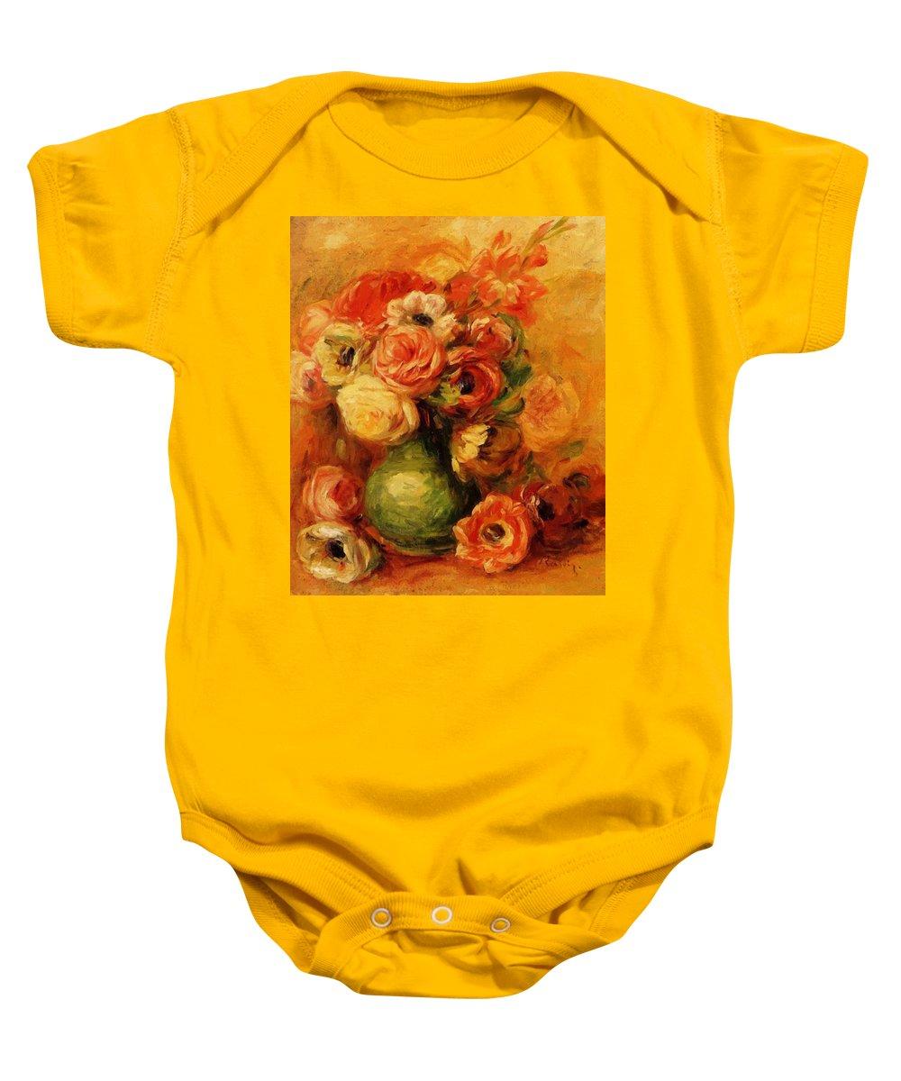 Flowers Baby Onesie featuring the painting Flowers by Renoir PierreAuguste