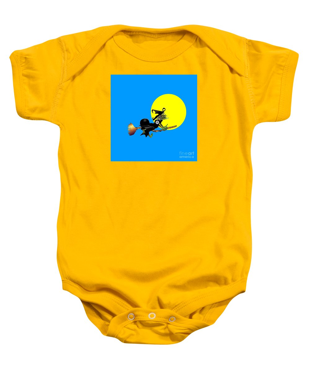 Religion Baby Onesie featuring the digital art Flying Pentacle Witch by Frederick Holiday