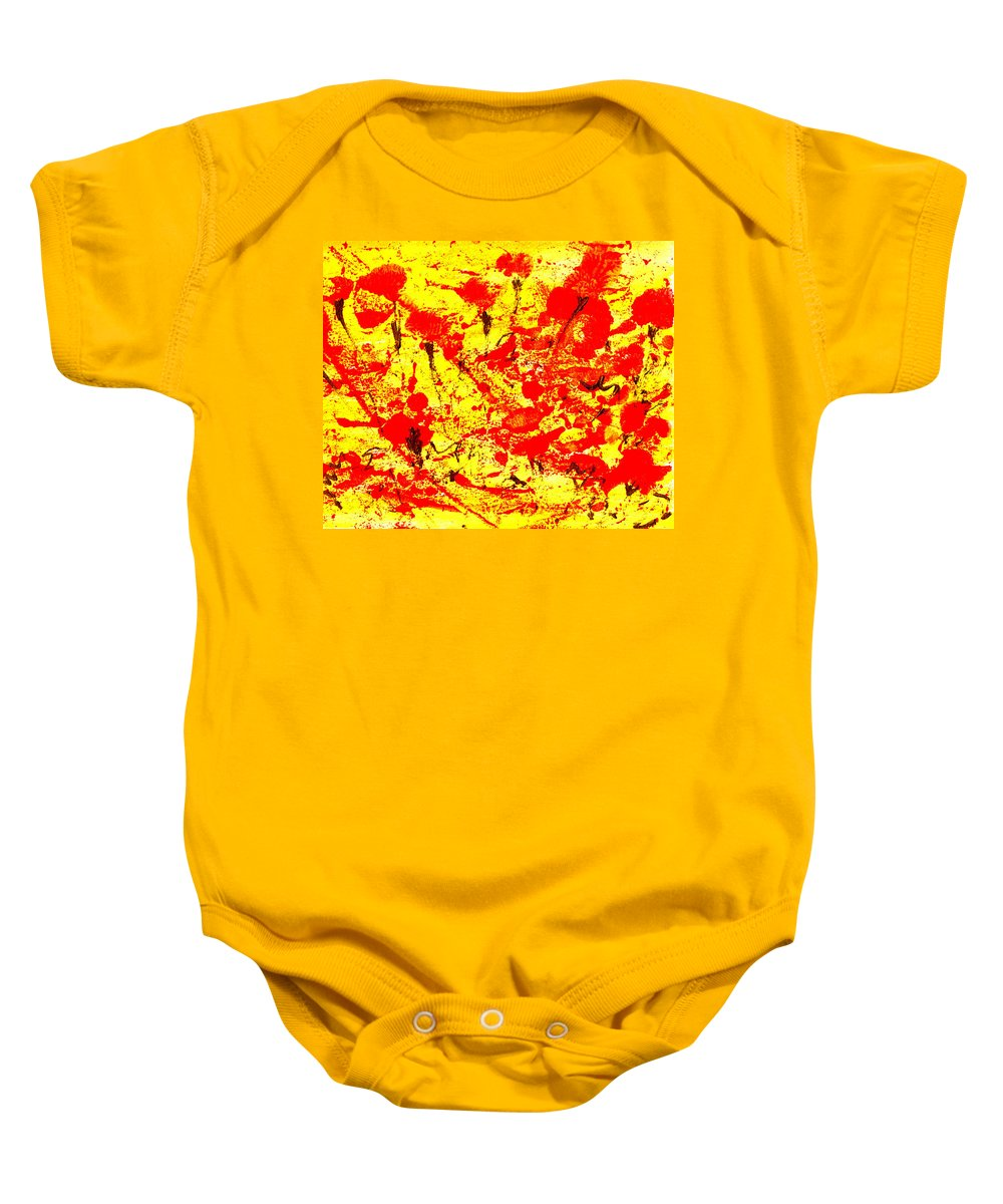 Abstract Baby Onesie featuring the painting Flying Poppies by Wayne Potrafka