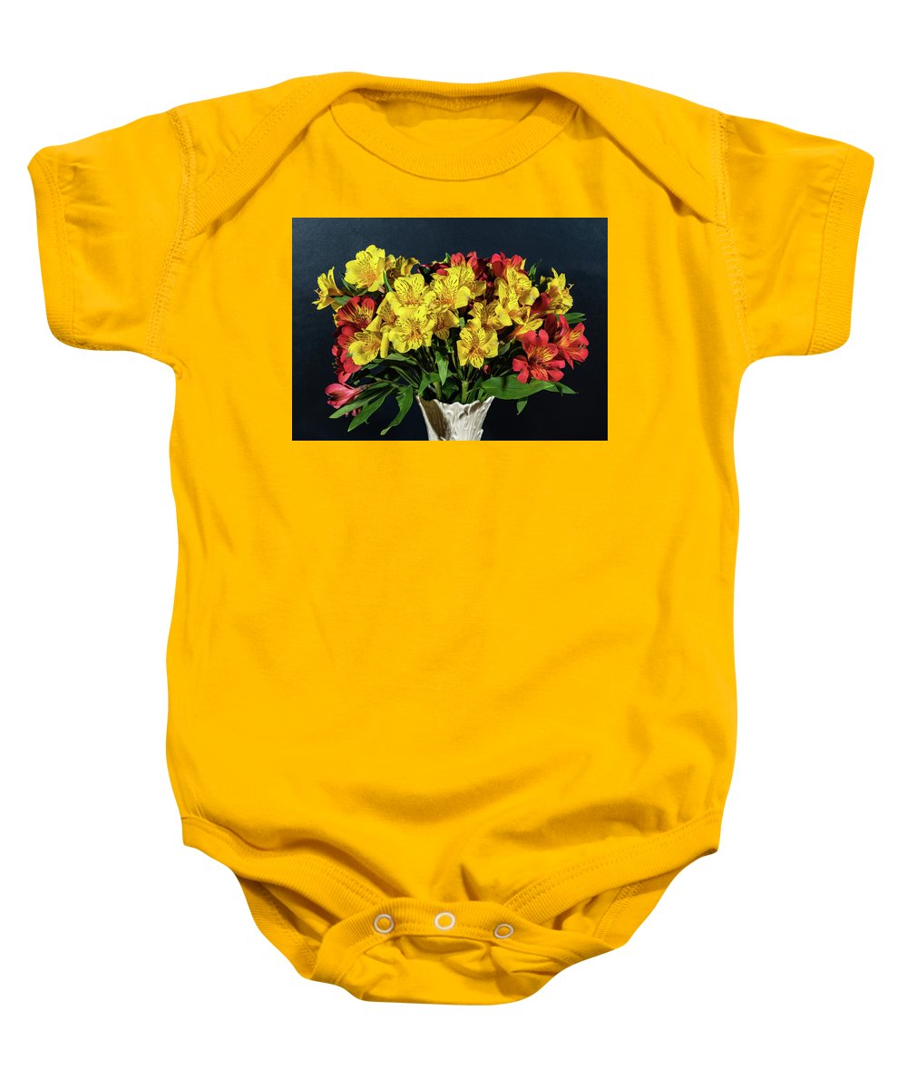 Bouquet Baby Onesie featuring the photograph Foral Bouquet Of Red And Yellow Astomelia by Douglas Barnett