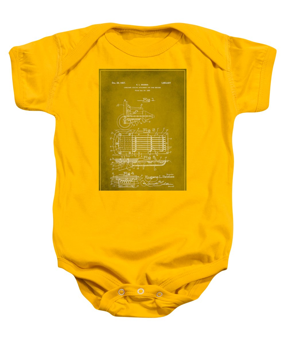 Patent Baby Onesie featuring the mixed media Ford Engine Lubricant Cooling Attachment Patent Drawing 1d by Brian Reaves