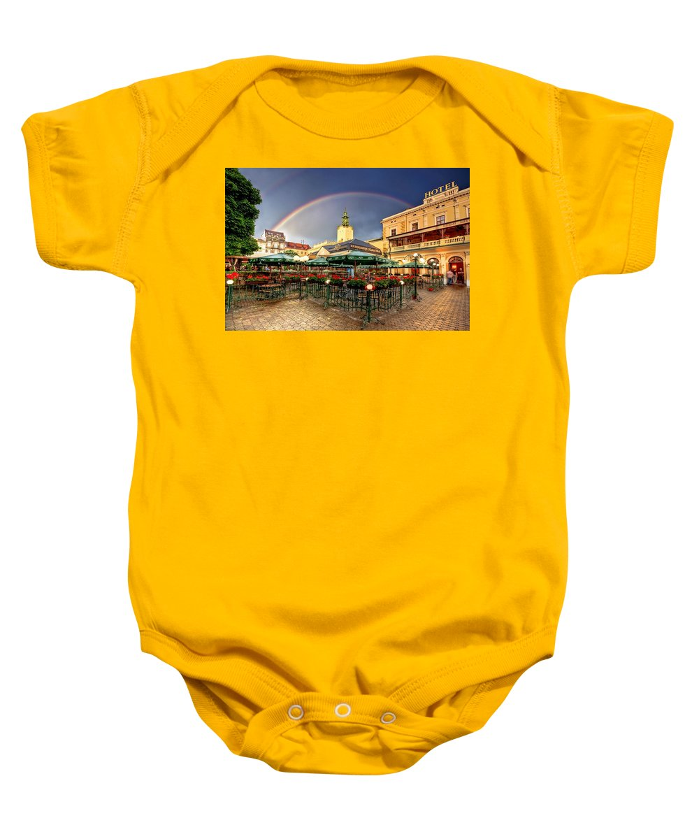 Ukraine Baby Onesie featuring the photograph Forget Me Not by Evelina Kremsdorf