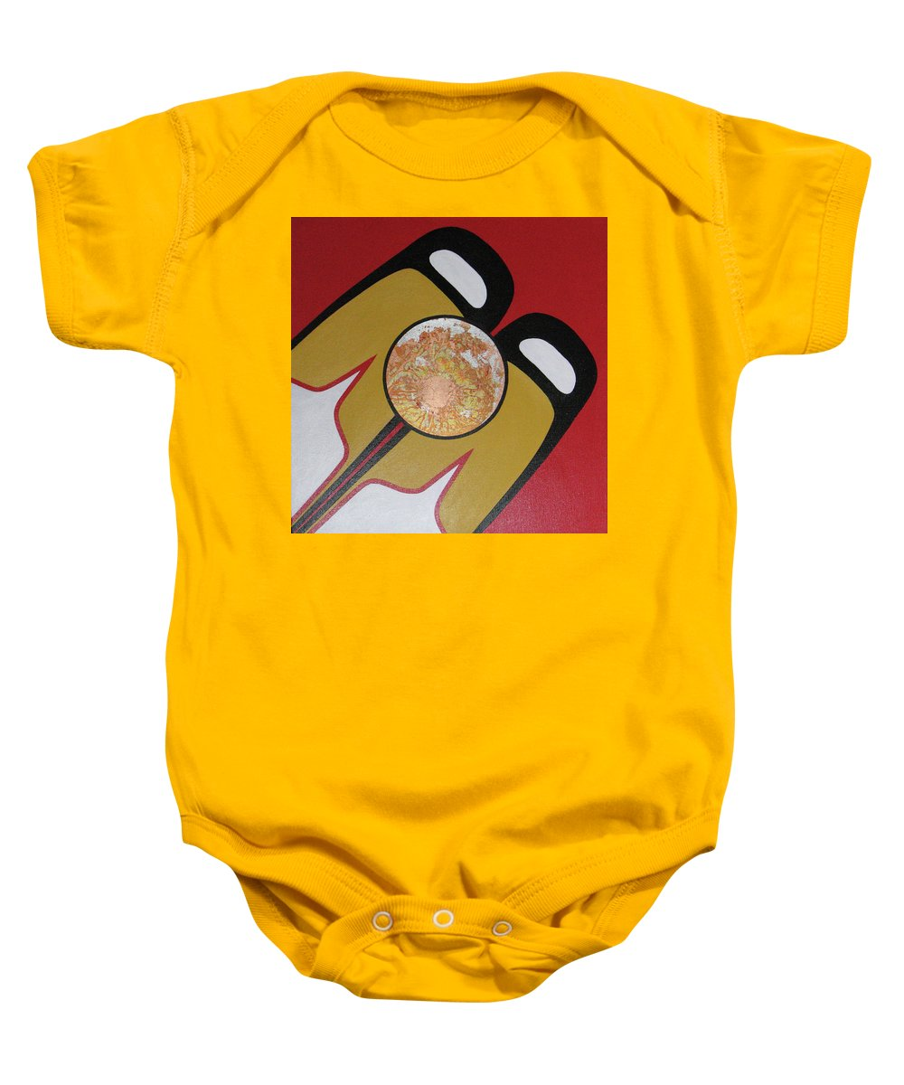 Abstract Baby Onesie featuring the painting Four Corners - Haida by Elaine Booth-Kallweit