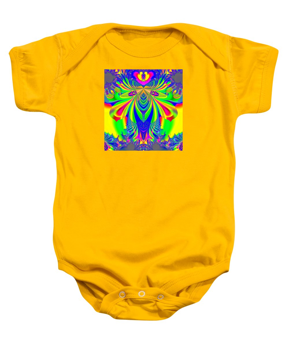 Psychedelic Love Explosion Baby Onesie featuring the digital art Fractal 31 Psychedelic Love Explosion by Rose Santuci-Sofranko