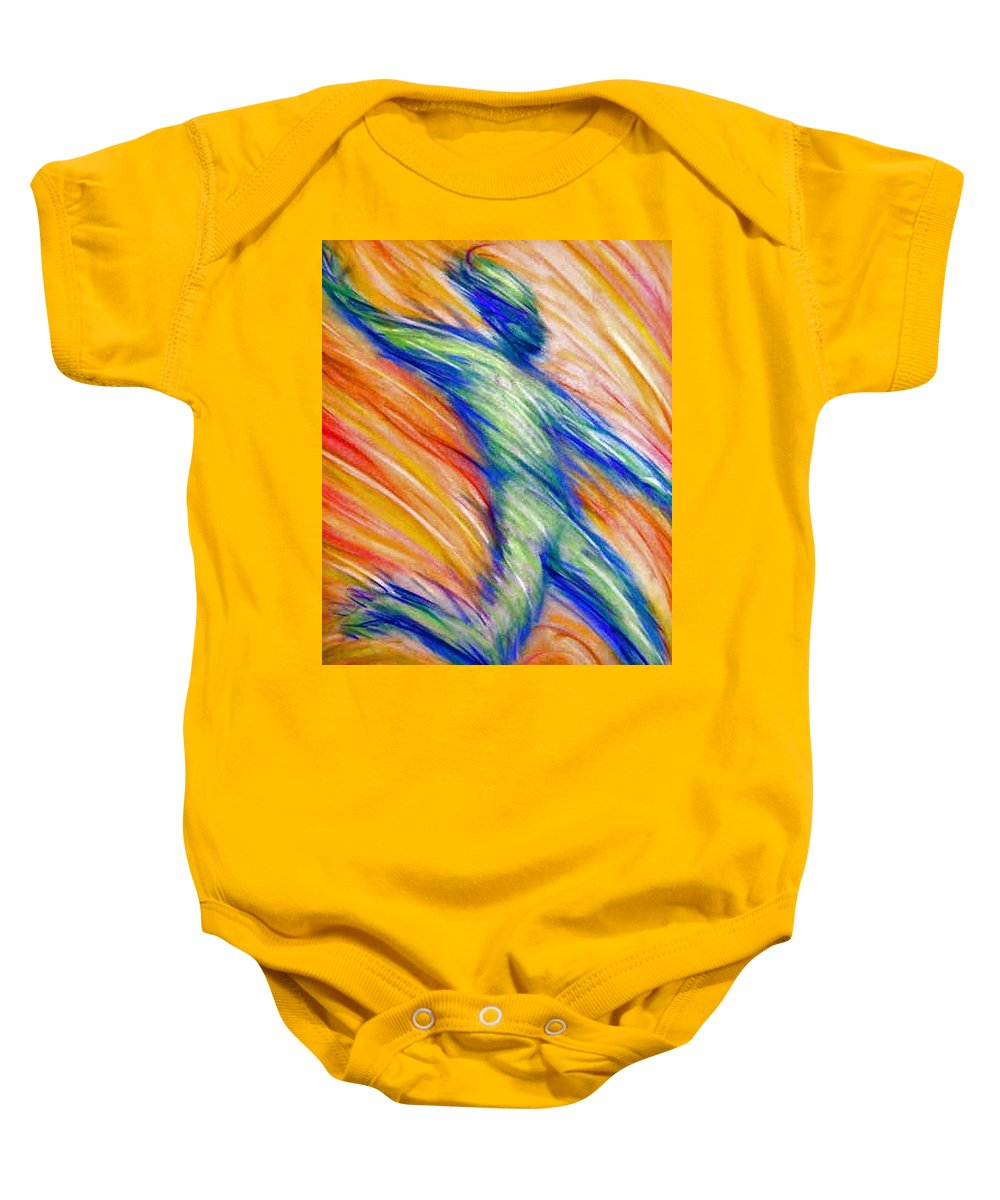 Baby Onesie featuring the drawing Free Fall by Jan Gilmore