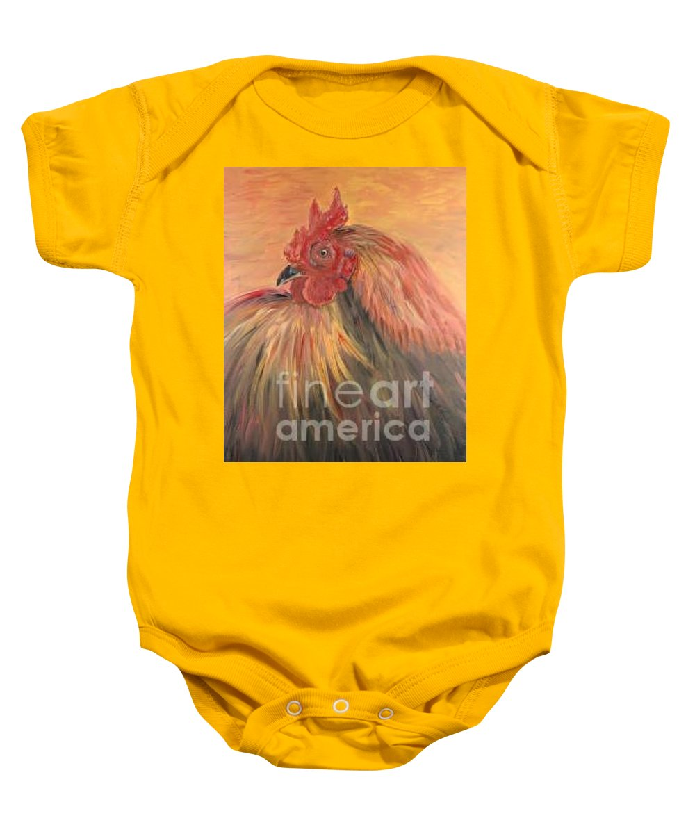 Rooster Baby Onesie featuring the painting French Country Rooster by Nadine Rippelmeyer