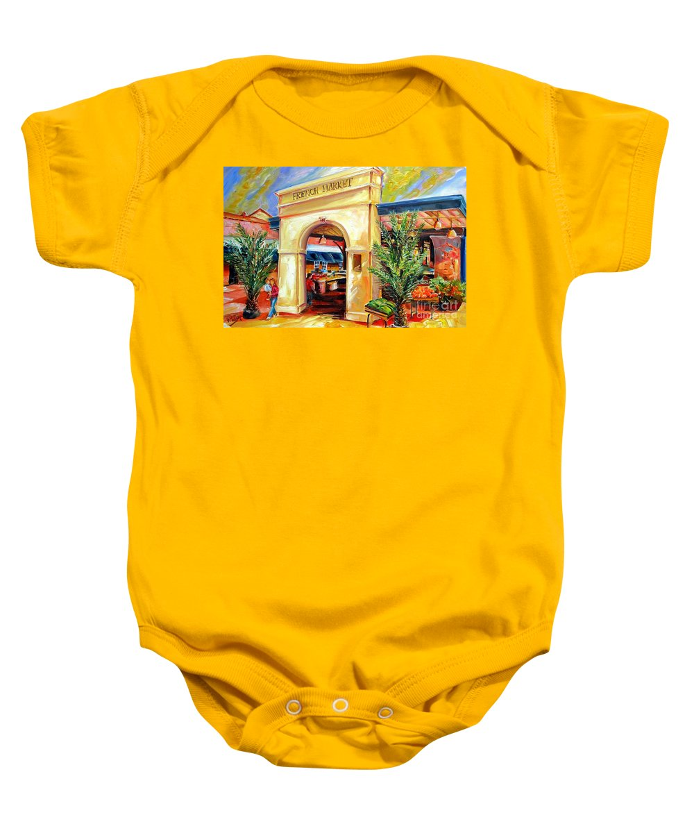 New Orleans Baby Onesie featuring the painting French Market Sunshine by Diane Millsap