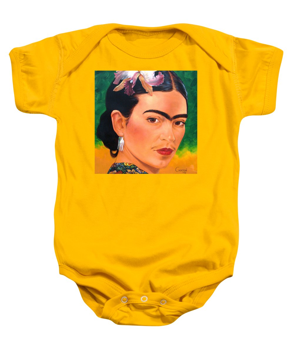 Frida Kahlo Baby Onesie featuring the painting Frida Kahlo 2003 by Jerrold Carton