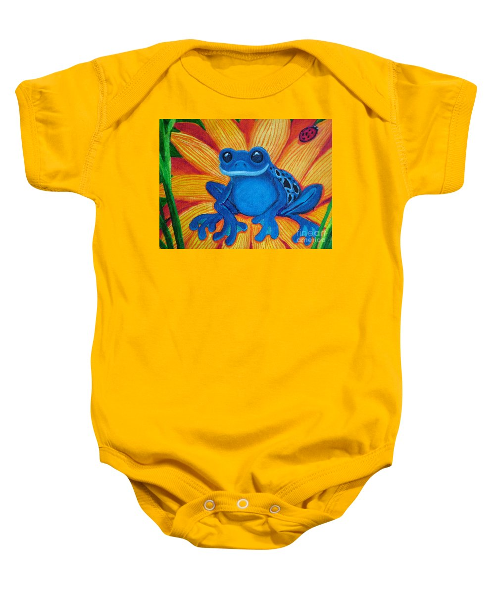 Frog And Flower Painting Baby Onesie featuring the painting Frog And Lady Bug by Nick Gustafson