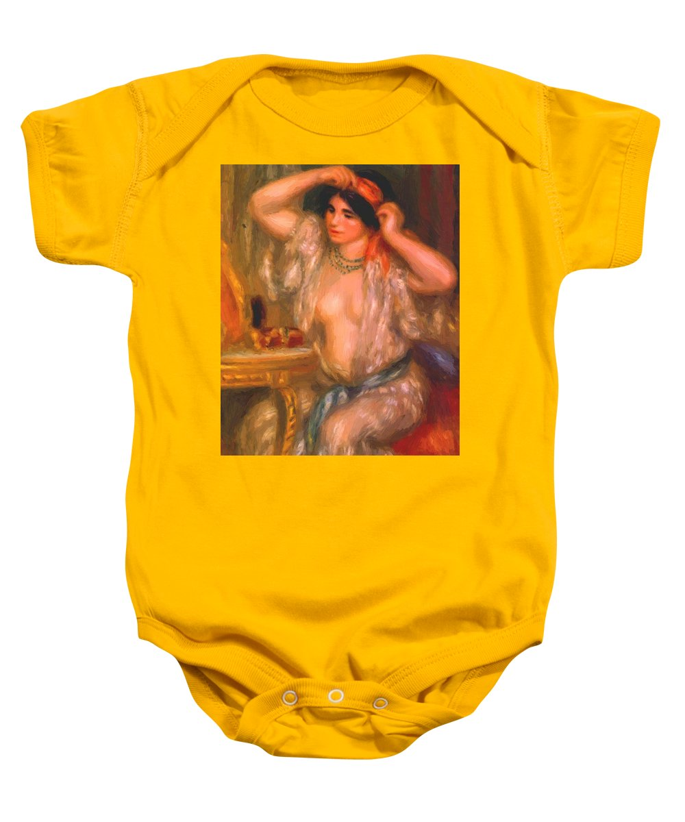Gabrielle Baby Onesie featuring the painting Gabrielle At The Mirror 1910 by Renoir PierreAuguste