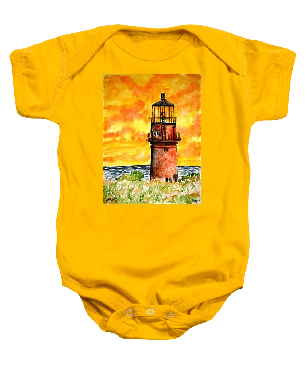 Beach Baby Onesie featuring the painting Gay Head Lighthouse Martha's Vineyard by Derek Mccrea