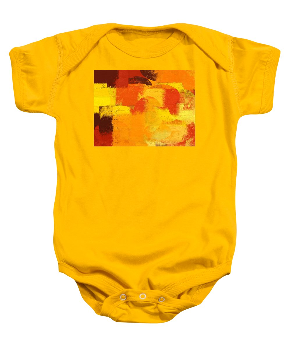 Orange Baby Onesie featuring the digital art Geomix 05 - 01at01 by Variance Collections
