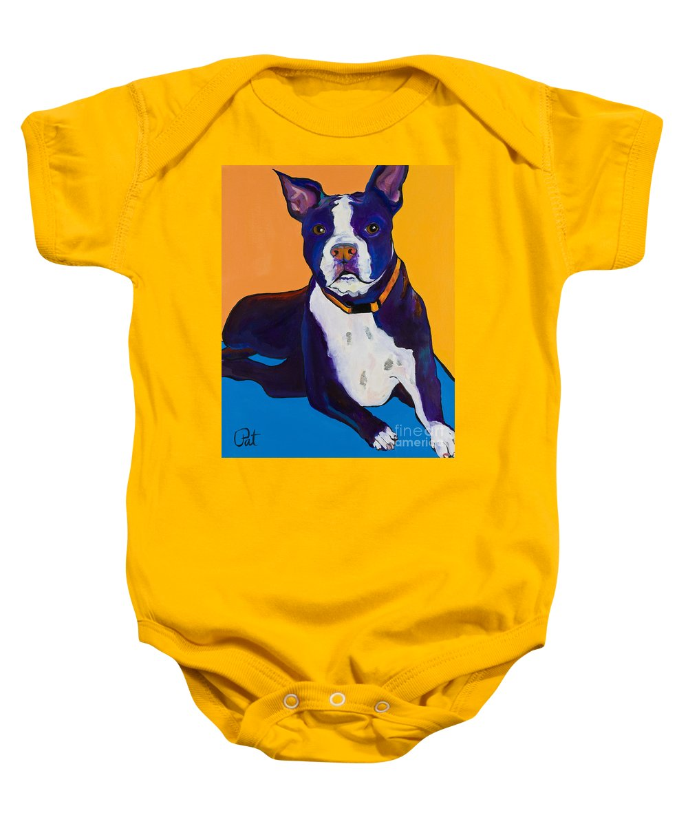 Boston Terrier Baby Onesie featuring the painting Georgie by Pat Saunders-White