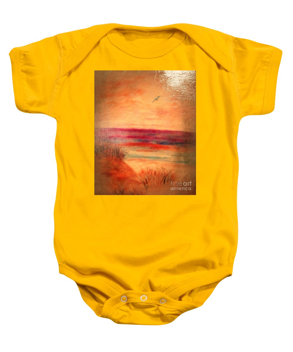 Water Baby Onesie featuring the painting Glazed Affect Beach Scene by Debra Lynch
