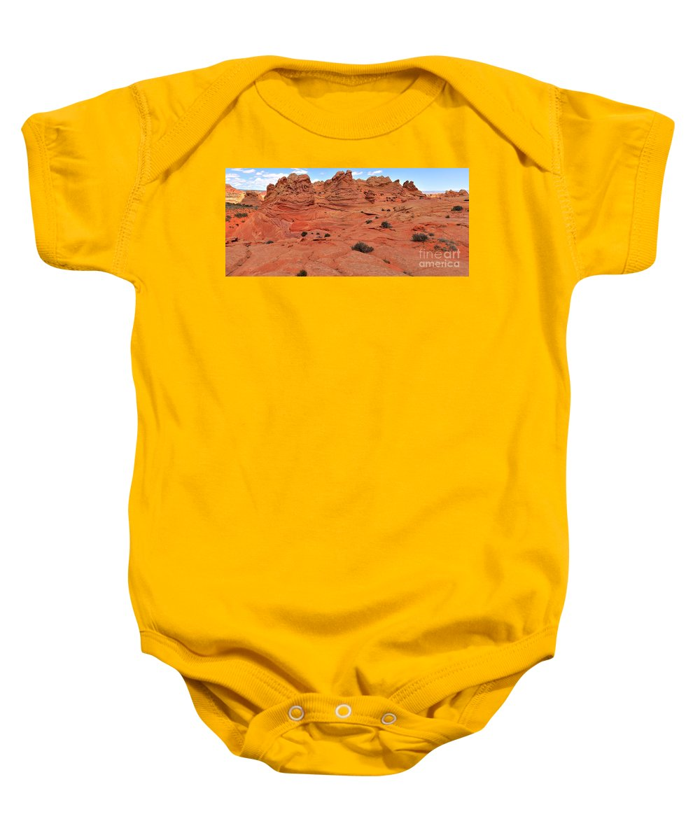 Vermilion Cliffs Panorama Baby Onesie featuring the photograph Glowing Sand In The Buttes by Adam Jewell
