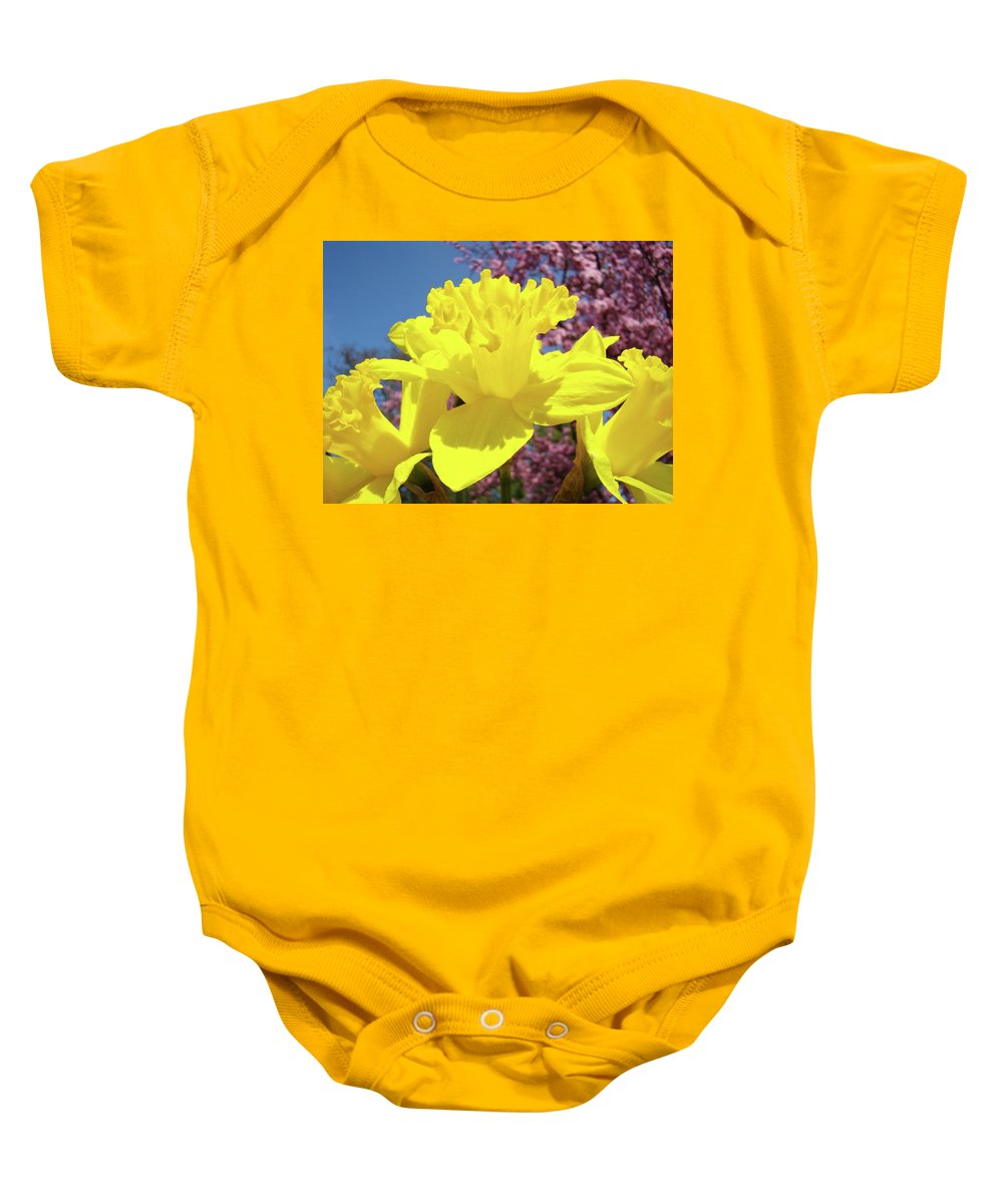 Daffodils Baby Onesie featuring the photograph Glowing Yellow Daffodils Art Prints Pink Blossoms Spring Baslee Troutman by Baslee Troutman