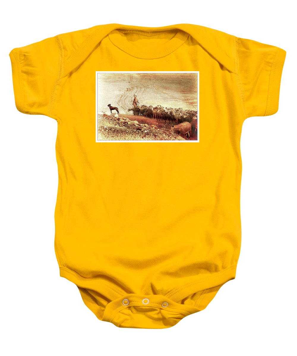 Goats Baby Onesie featuring the photograph Goatherd by Mal Bray