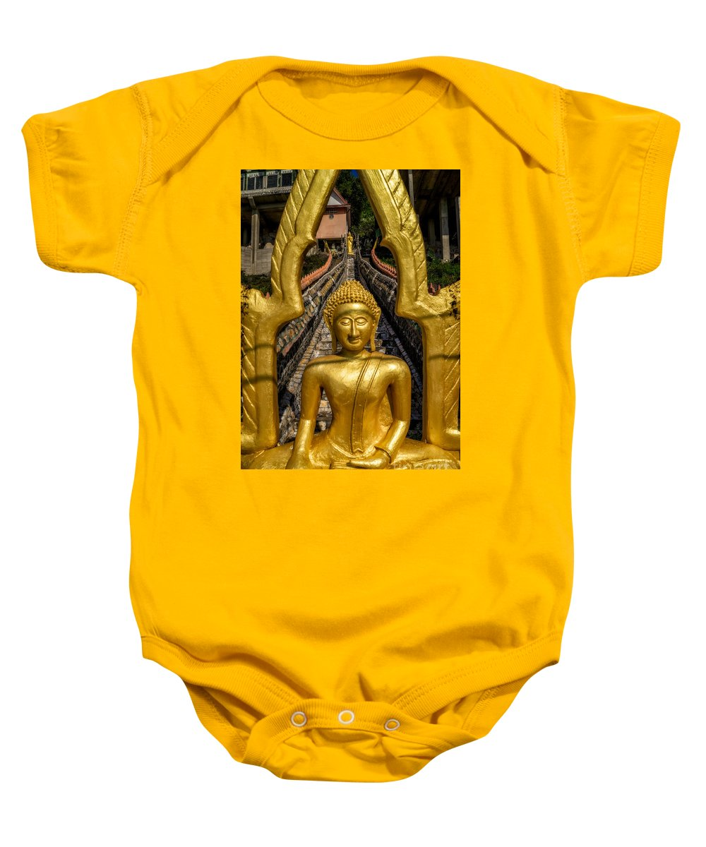 Temple Baby Onesie featuring the photograph Golden Buddhas by Adrian Evans