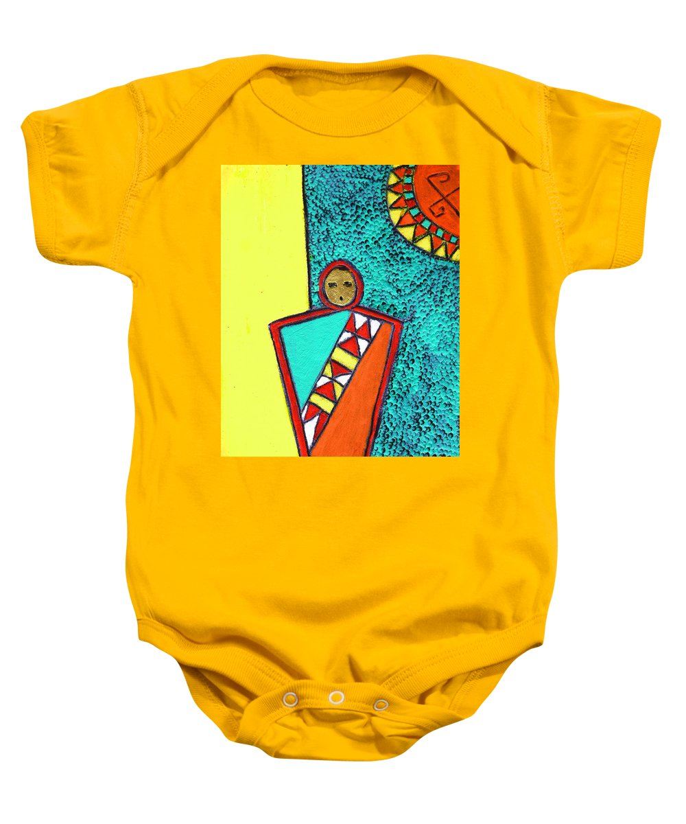 Southwest Baby Onesie featuring the painting Golden Child Of The South West by Wayne Potrafka