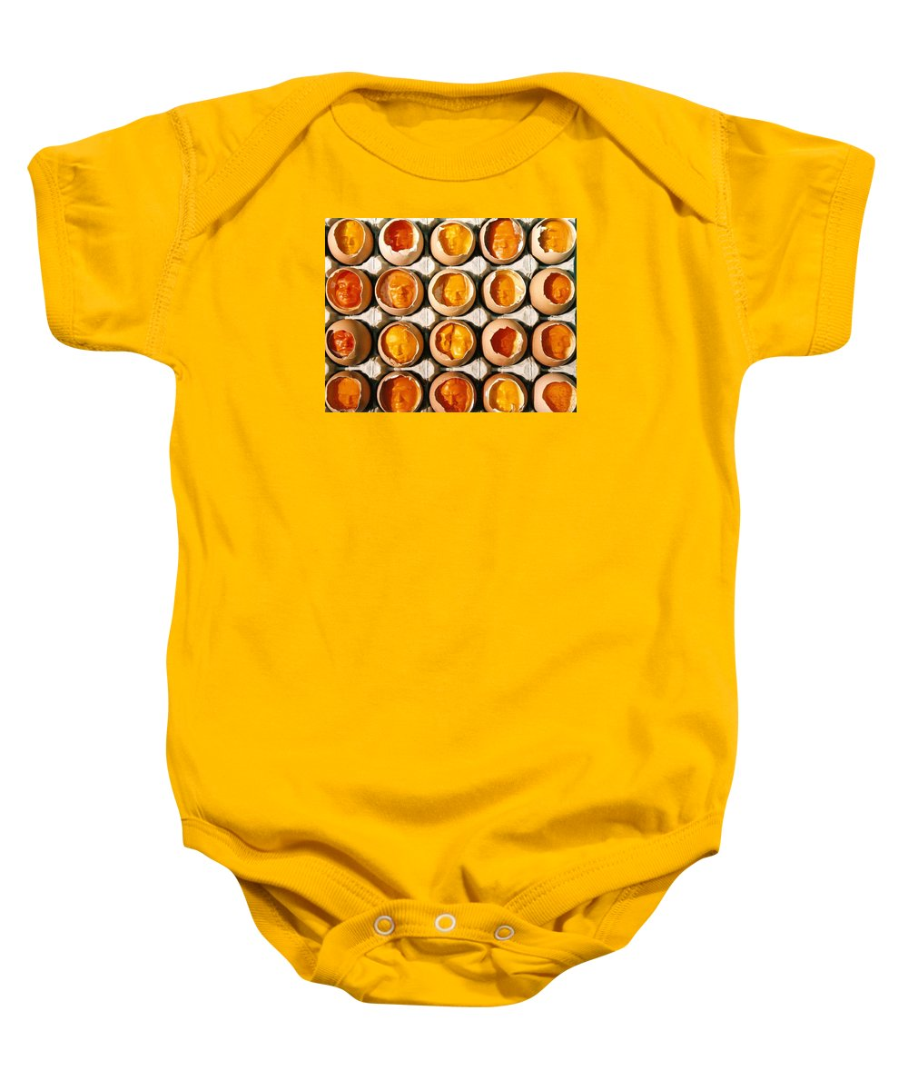 Eggs Baby Onesie featuring the sculpture Golden Eggs 2 by Mark Cawood