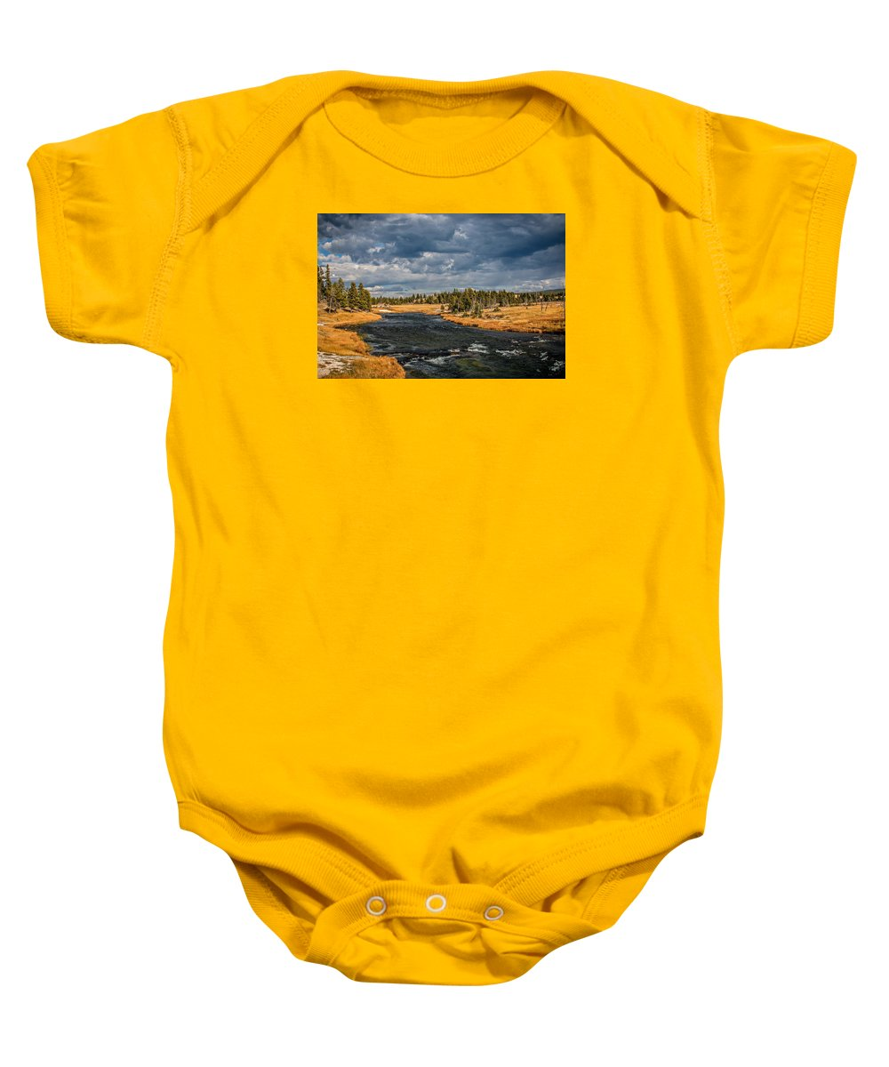 Landscape Baby Onesie featuring the photograph Golden Glory by Gemdelin Jackson
