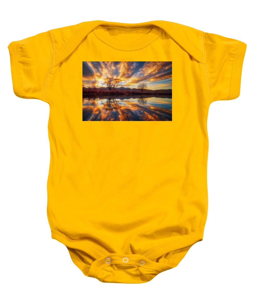 Colorado Baby Onesie featuring the photograph Golden Light On The Pond by Darren White