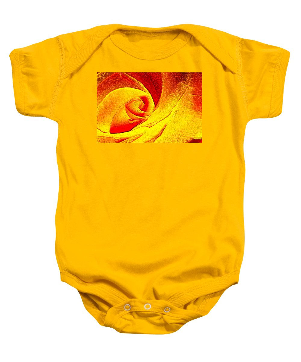 Rose; Fantasy; Red; Yellow; Flower; Bloom; Bud; Blossom; Petals; Abstract; Impression; Impressionism; Art; Gold; Golden Baby Onesie featuring the digital art Golden Rose by Francesa Miller
