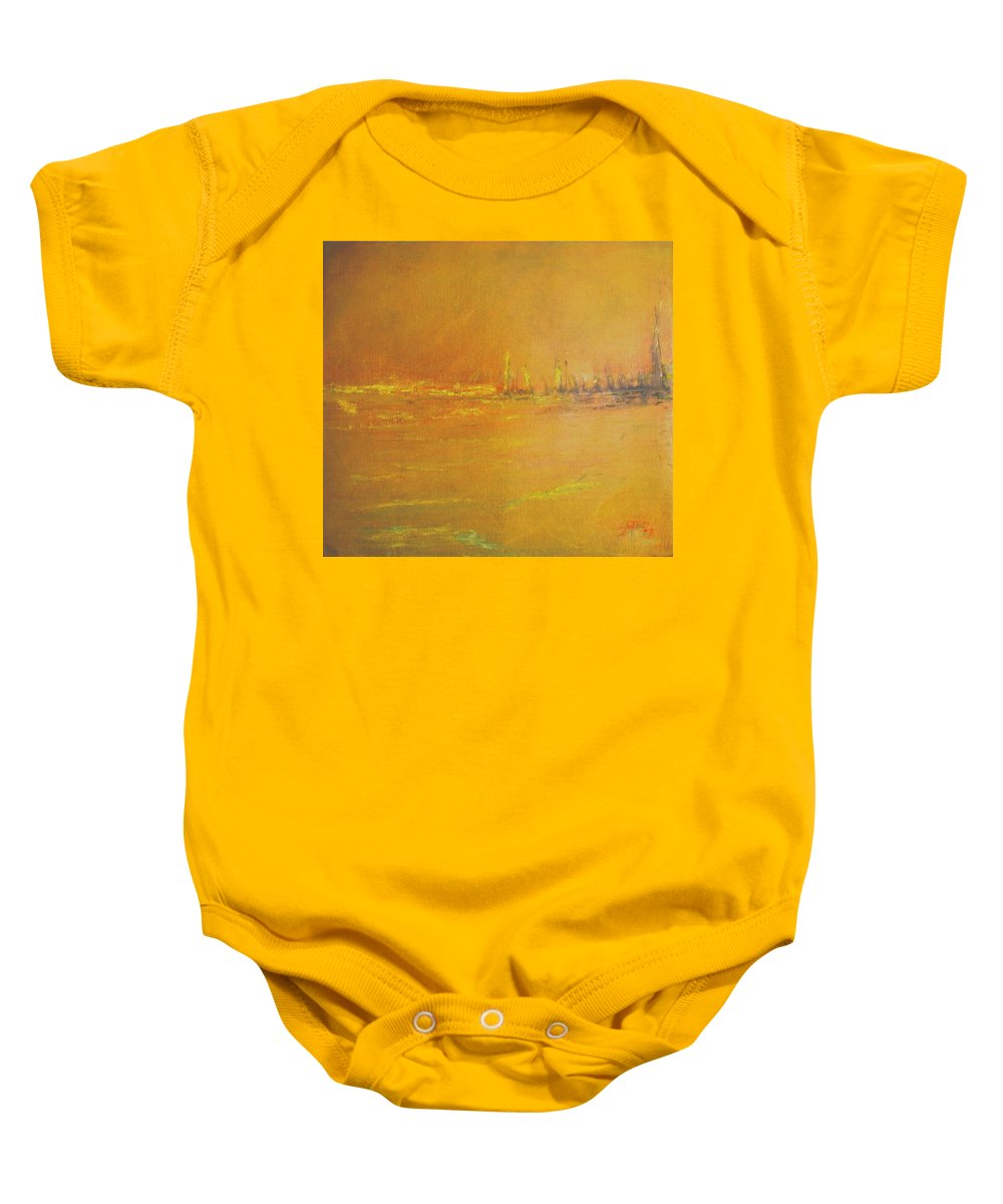 Ships Baby Onesie featuring the painting Golden Sky by Jack Diamond