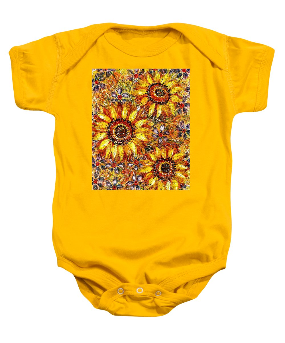 Sunflowers Baby Onesie featuring the painting Golden Sunflower by Natalie Holland