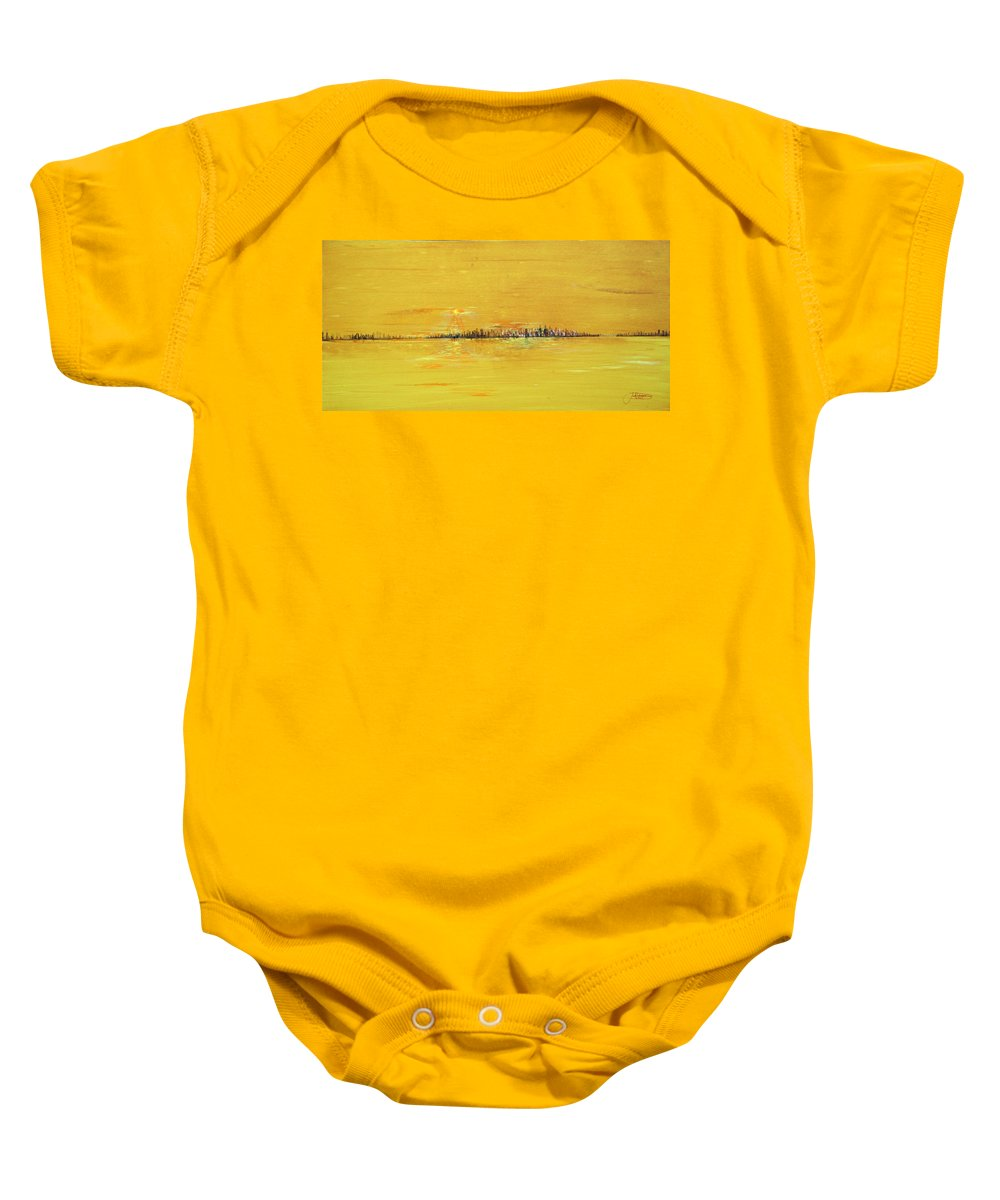 Gold Baby Onesie featuring the painting Golden Sunset by Jack Diamond