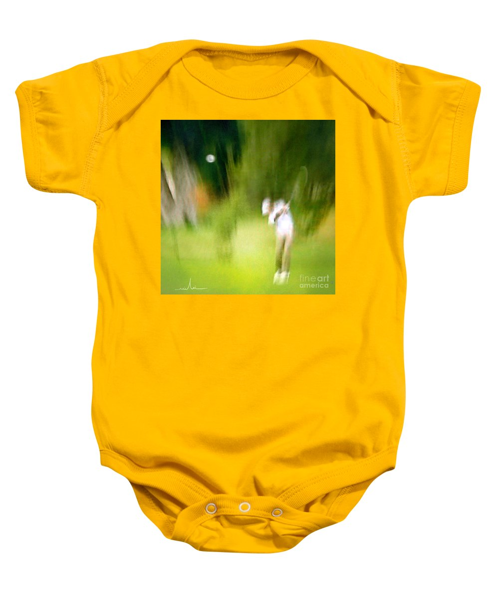 Golf Baby Onesie featuring the painting Golf At The Blue Monster In Doral Florida 01 by Miki De Goodaboom