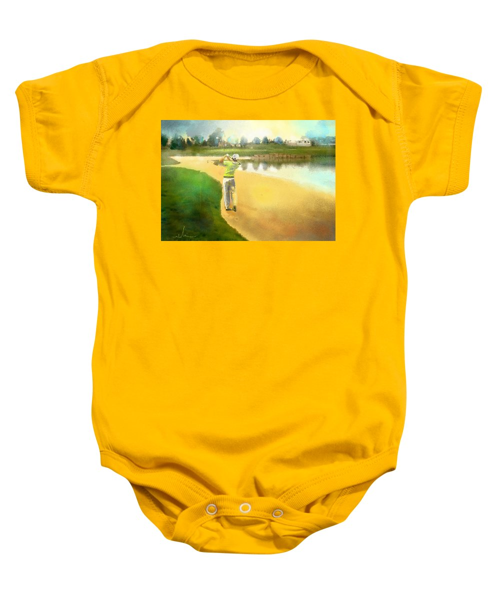 Golf Baby Onesie featuring the painting Golf In Club Fontana Austria 02 by Miki De Goodaboom