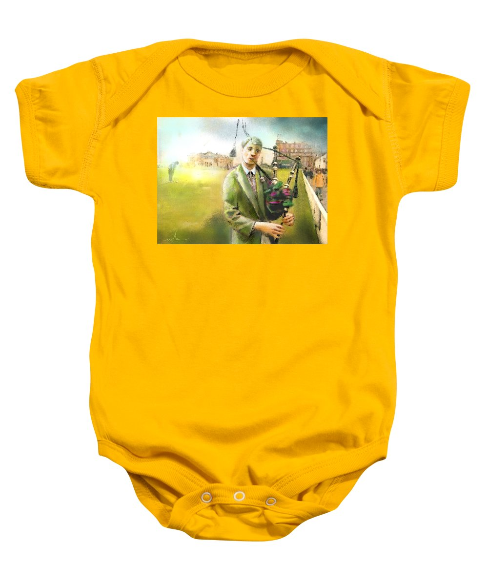 Golf Baby Onesie featuring the painting Golf In Scotland Saint Andrews 03 by Miki De Goodaboom