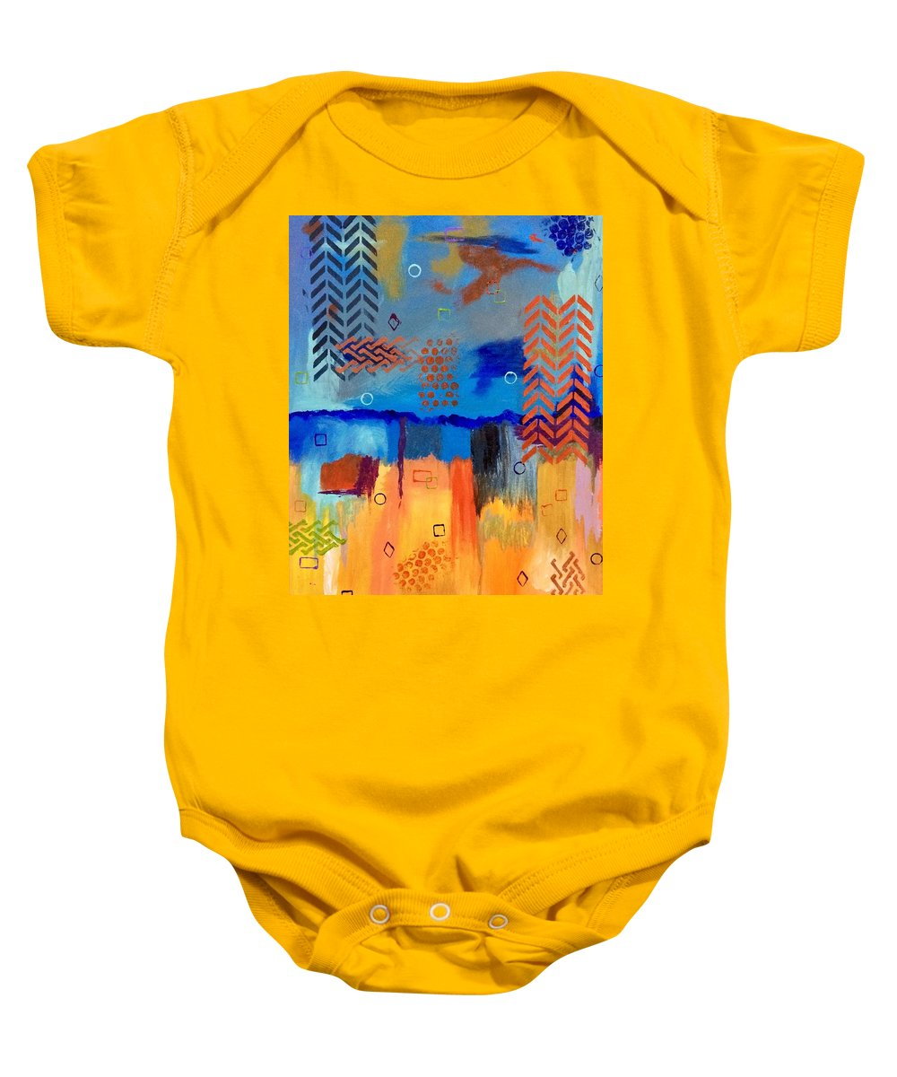 Abstract Baby Onesie featuring the painting Good Vibes by Terri Huffman