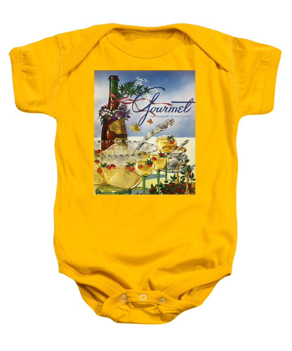 Illustration Baby Onesie featuring the photograph Gourmet Cover Featuring A Bowl And Glasses by Henry Stahlhut