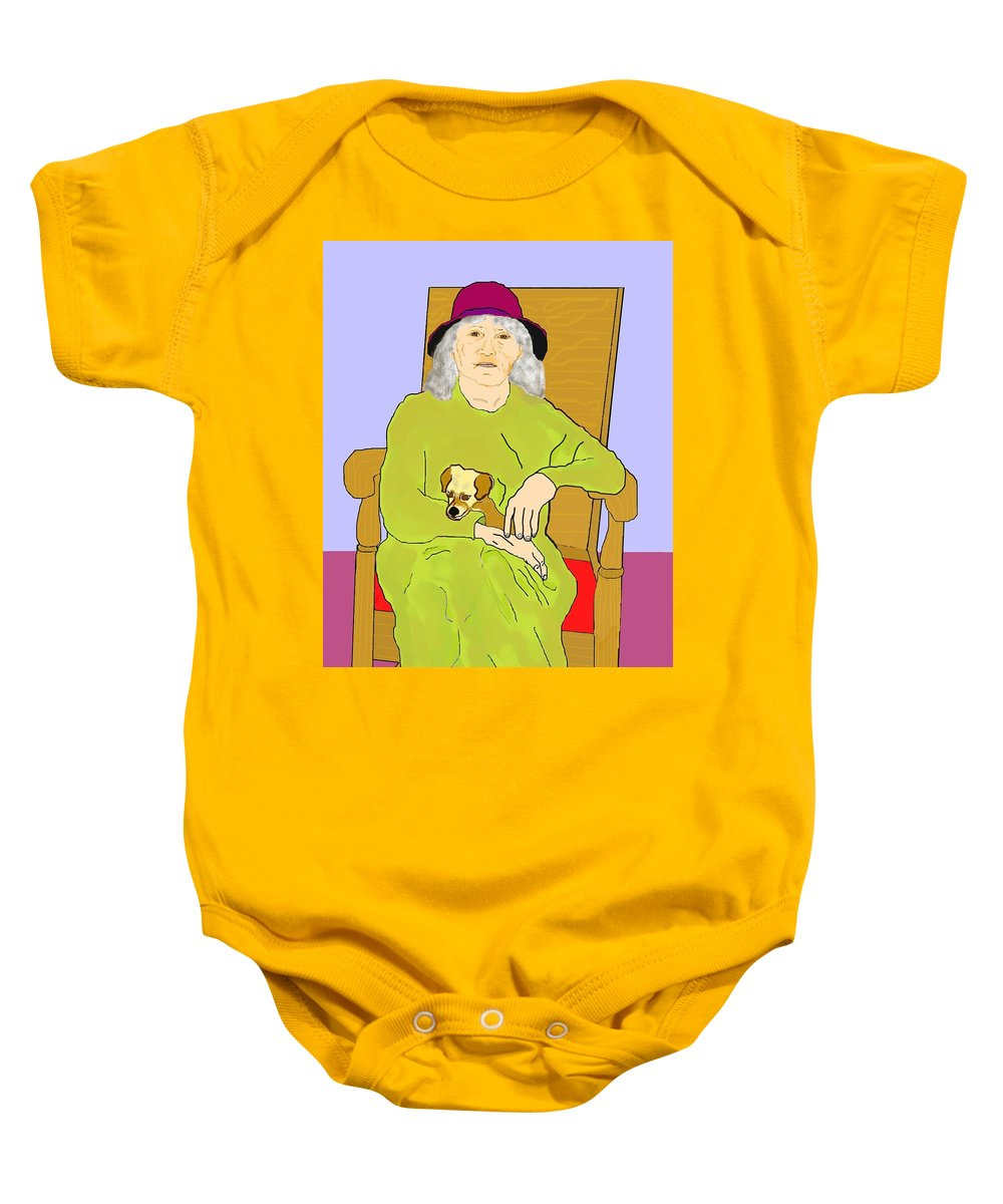 Grandmother Baby Onesie featuring the painting Grandma And Puppy by Pharris Art