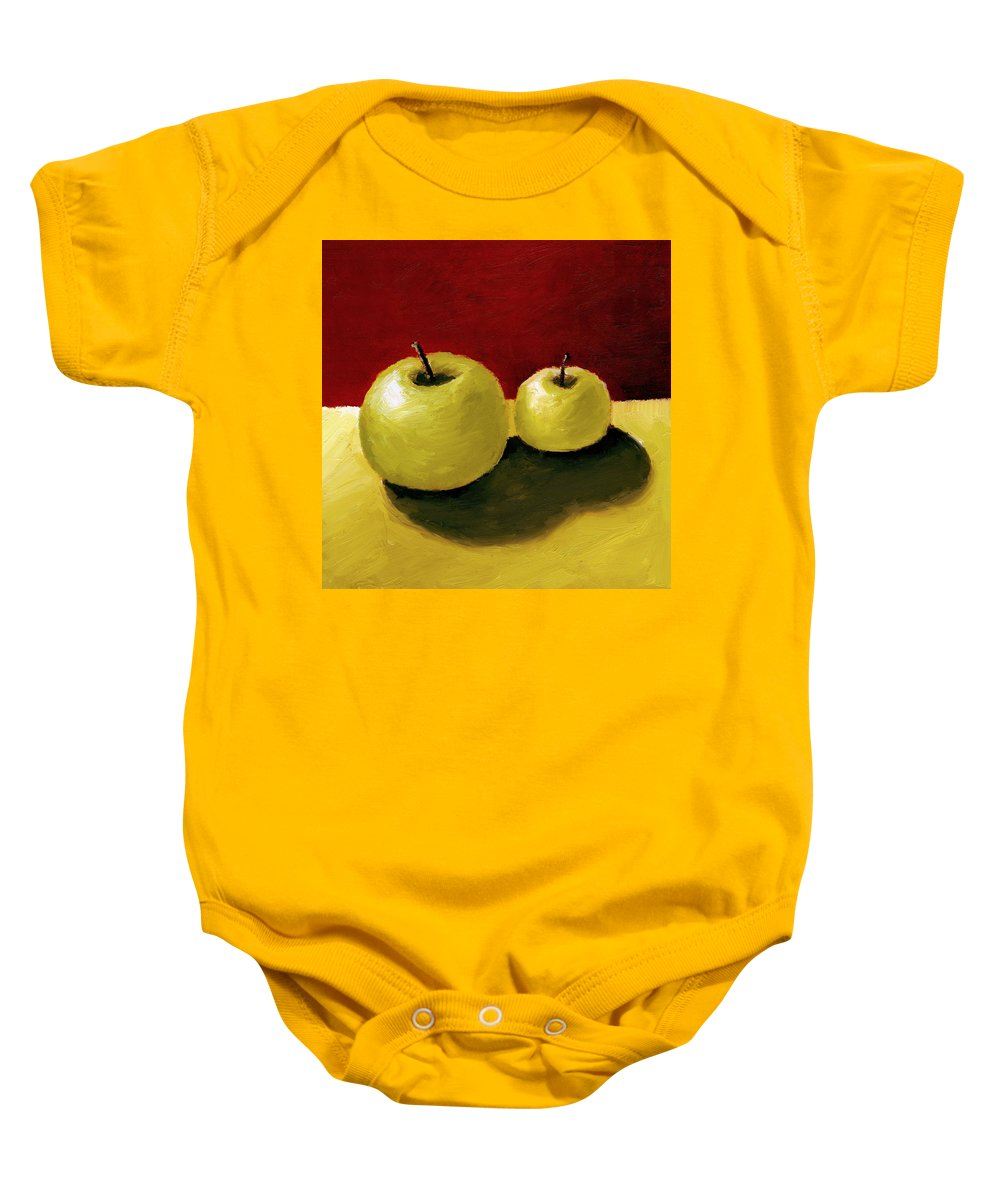 Apple Baby Onesie featuring the painting Granny Smith Apples by Michelle Calkins