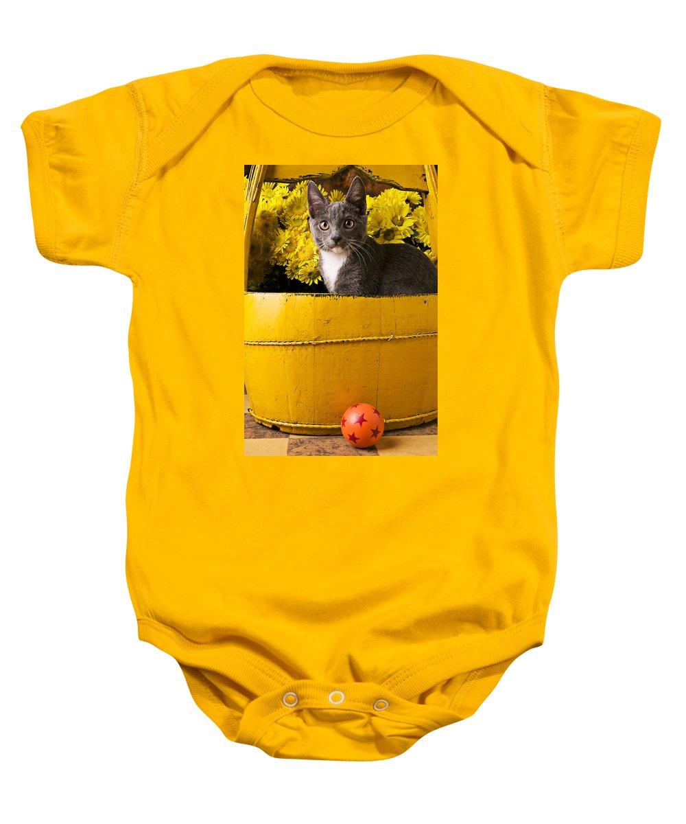 Kitten Baby Onesie featuring the photograph Gray Kitten In Yellow Bucket by Garry Gay