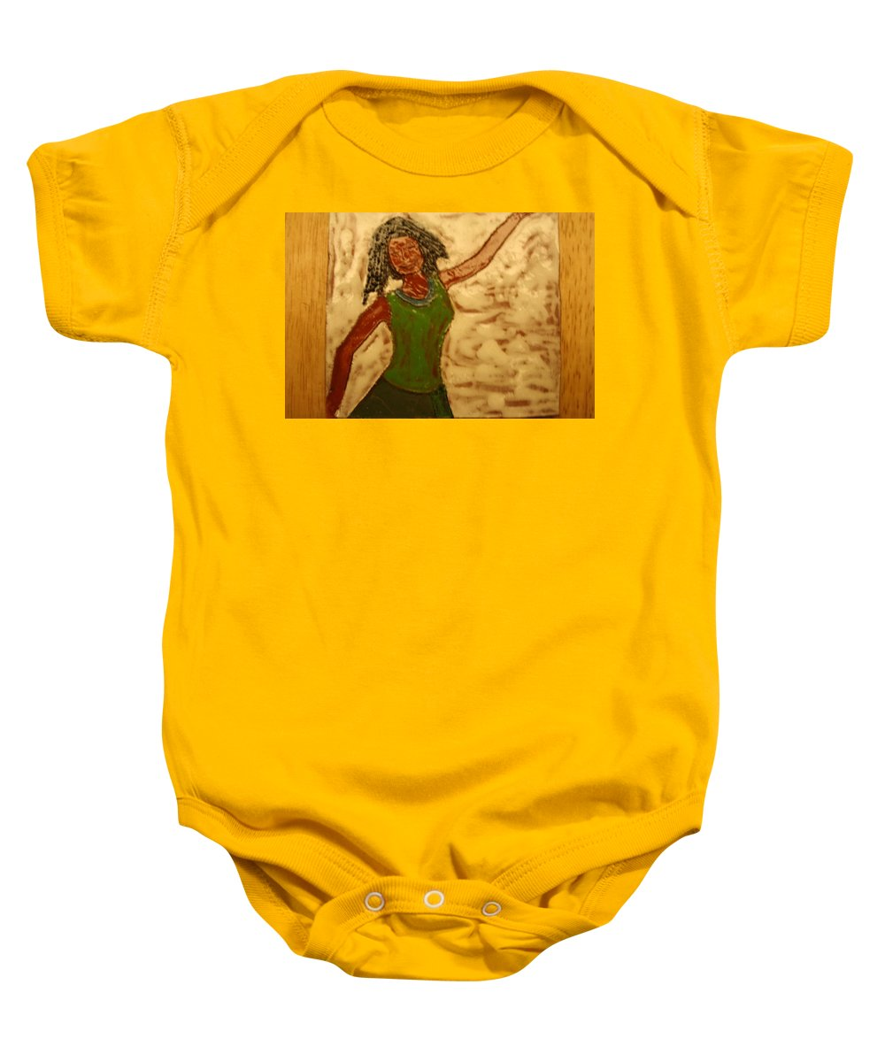Jesus Baby Onesie featuring the ceramic art Great Change - Tile by Gloria Ssali