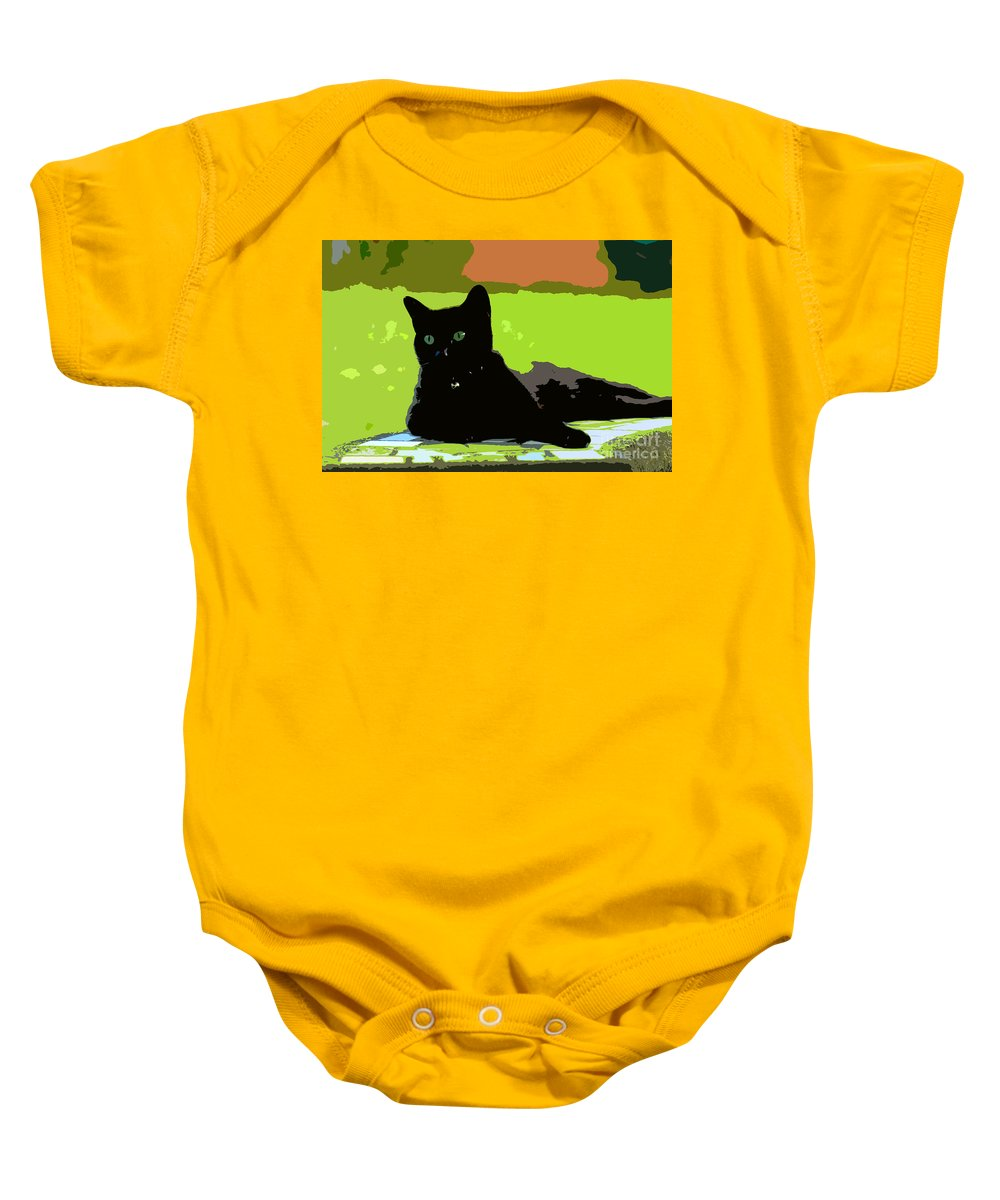 Cat Baby Onesie featuring the painting Green Eyes by David Lee Thompson