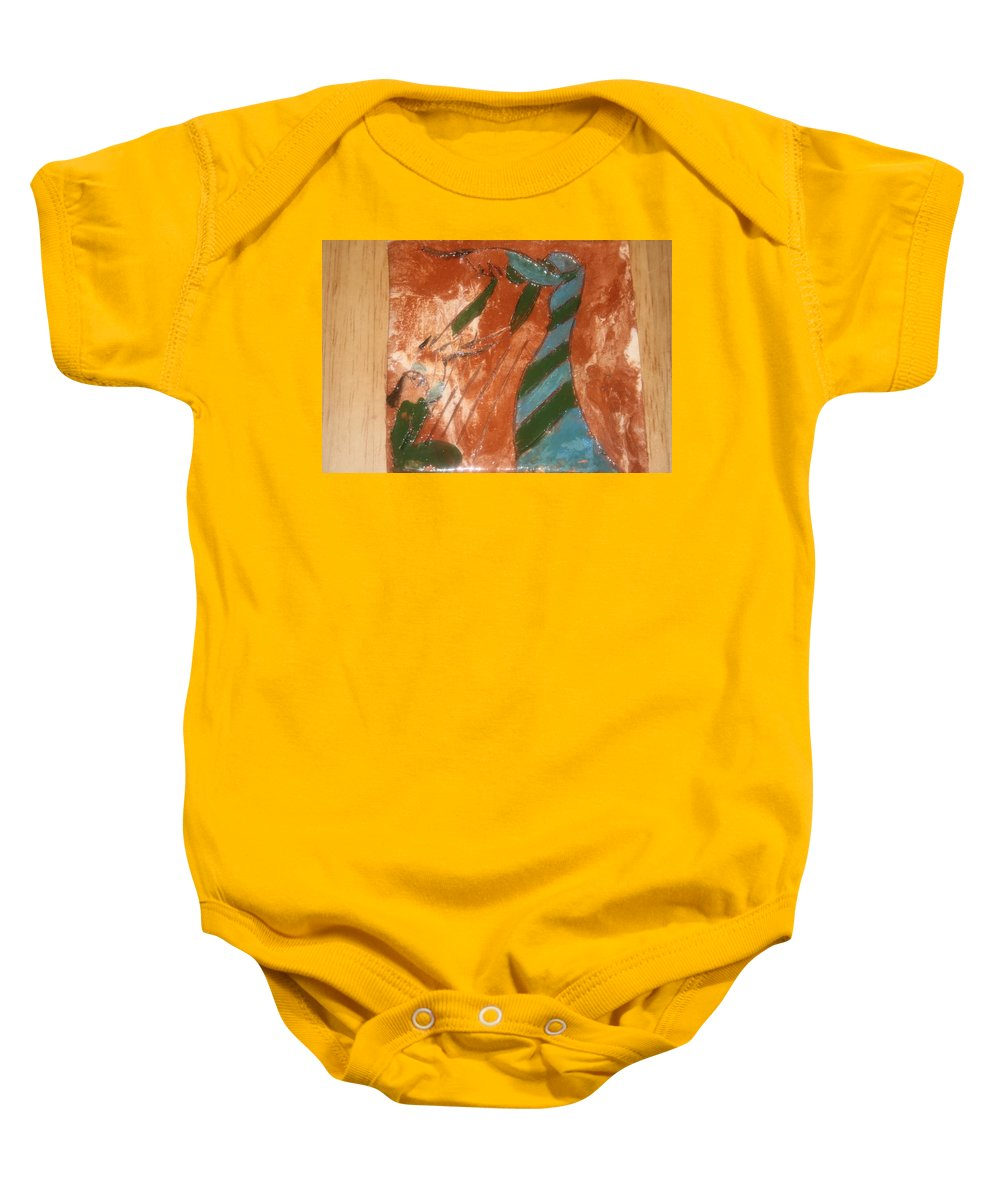 Jesus Baby Onesie featuring the ceramic art Greeting - Tile by Gloria Ssali