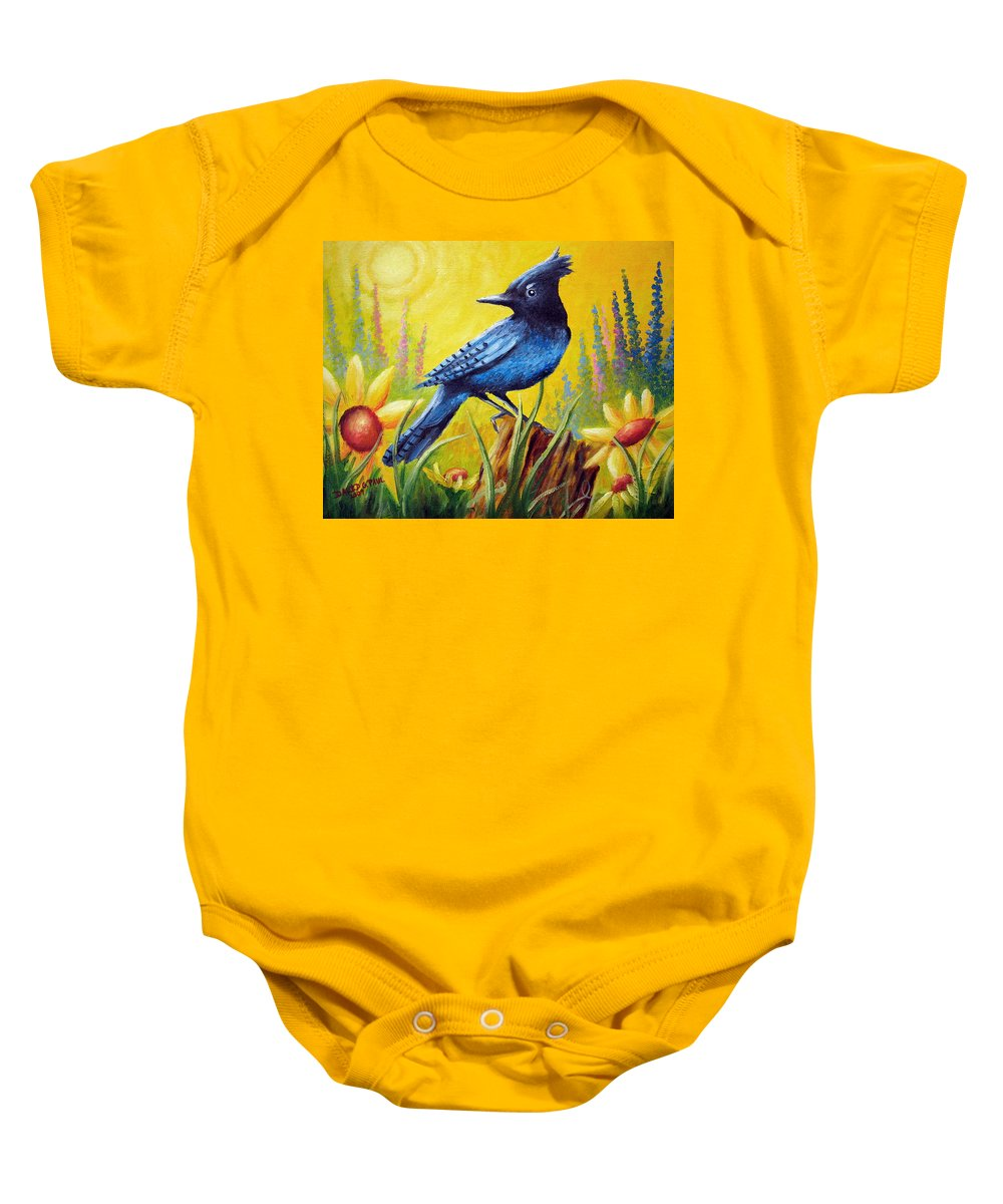 Bird Baby Onesie featuring the painting Greeting The Day by David G Paul