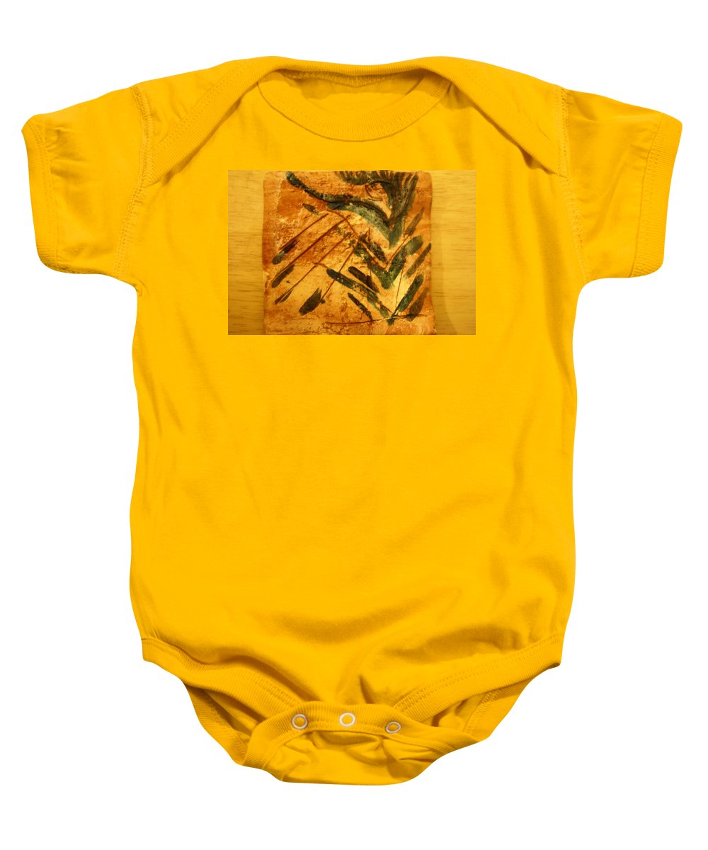 Jesus Baby Onesie featuring the ceramic art Greta - Tile by Gloria Ssali